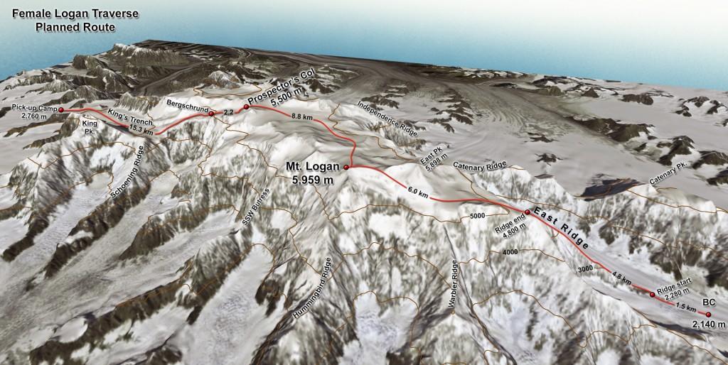 Mount Logan Solo traverse planned route
