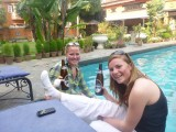 Mollie and me celebrating with Everest beers in Kathmandu, war wounds included!