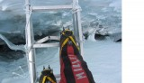 My feet on a ladder on the Cwm icefall