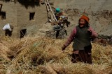 Old woman dances in the hay saying she is happy because she will see light in Ralakung before she dies.