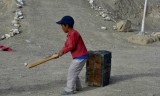 Improvised bat, ball and stumps, Photoksar, playing after school