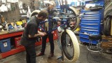 Josh and colleague adjusting the bottom bracket