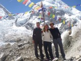 Mollie, me and Matt back at basecamp after the summit