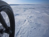 Approaching some patches of ice, cycling across the Beaufort Sea