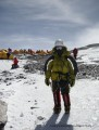 Becky leaving the south col post summiting!